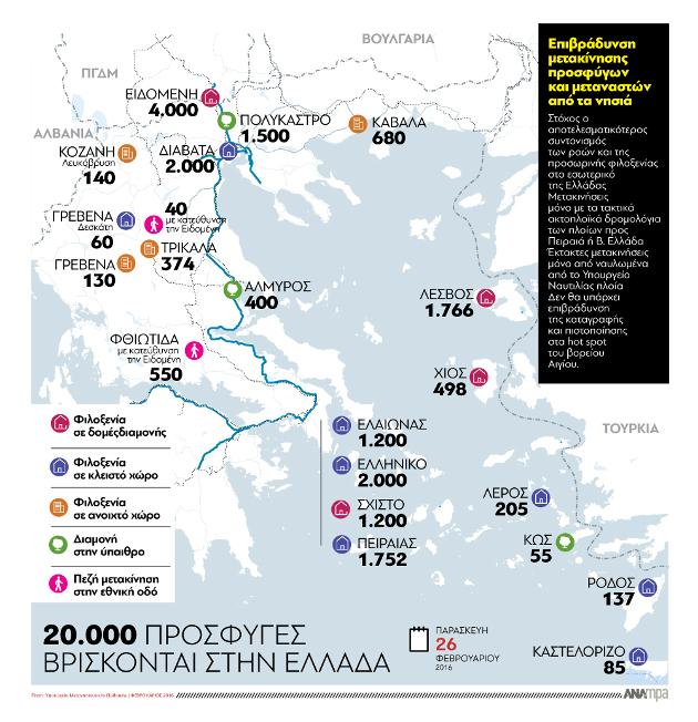 Γράφημα του ΑΠΕ με τα σημεία συγκέντρωσης των προσφύγων